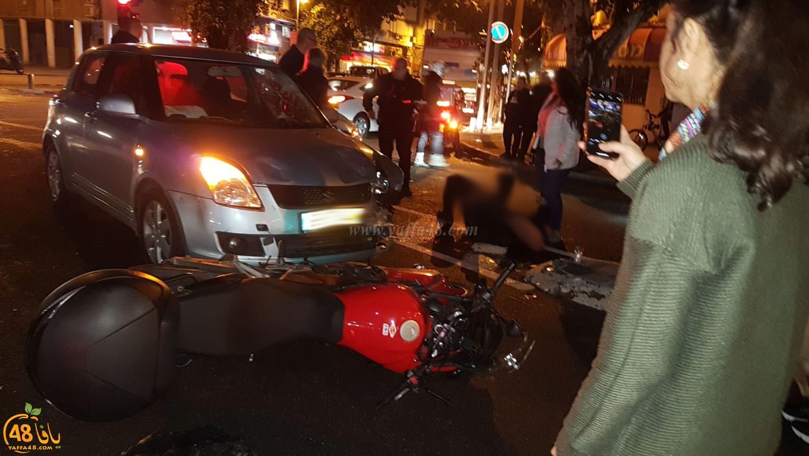 يافا: إصابة متوسطة لسائق دراجة نارية بحادث طرق