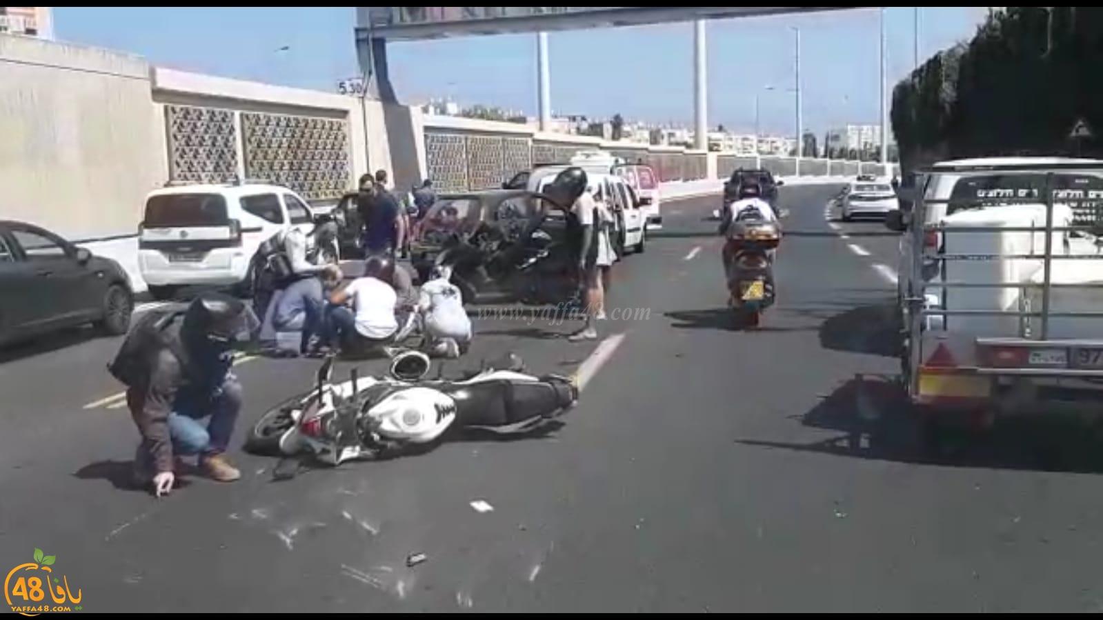يافا:إصابة سائقة درّاجة نارية واصابة اخر عند مخرج فولفسون على الشارع السريع