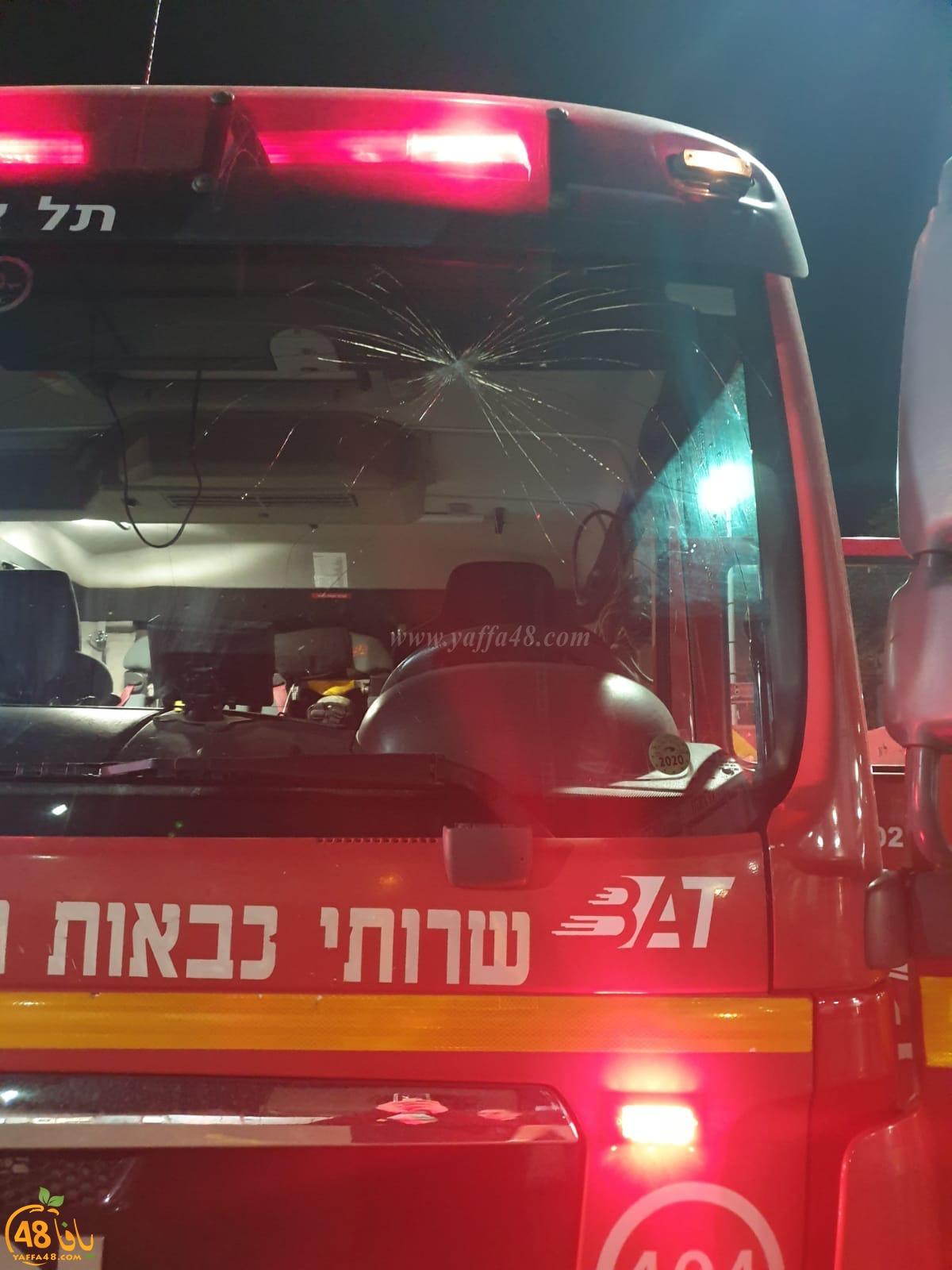 يافا: اصابة اثنين من طواقم الاطفائية اثر القاء حجارة بالمدينة