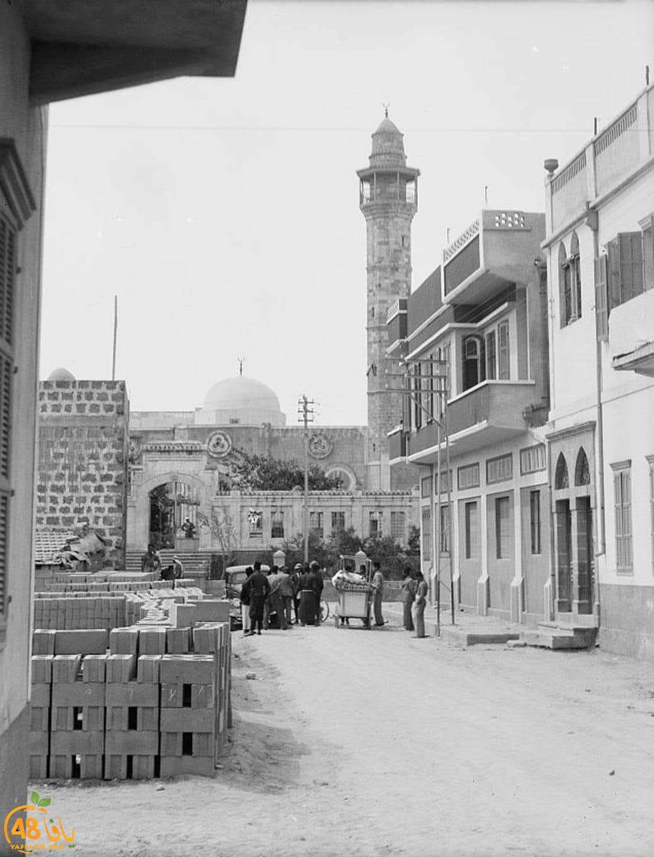 صورة نادرة لمسجد حسن بك وحي المنشية بيافا تعود لعام 1945