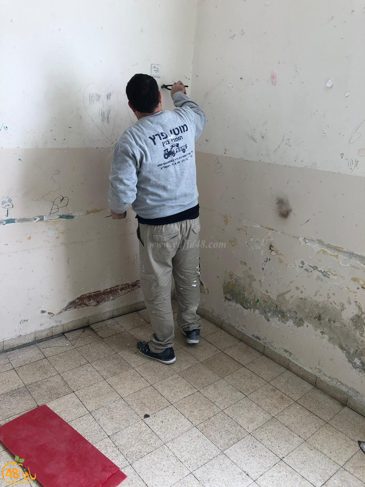 بالصور: البدء بترميم مبنى مقر النادي الاسلامي في مدينة يافا