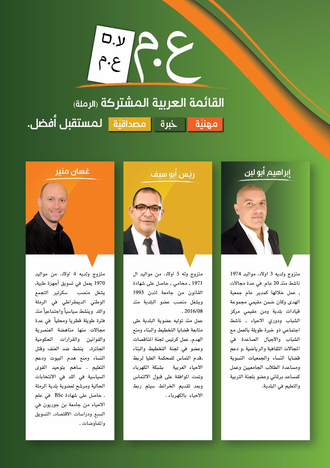 تعرّف على مرشحي القائمة العربية المشتركة وبرنامجها في مدينة الرملة