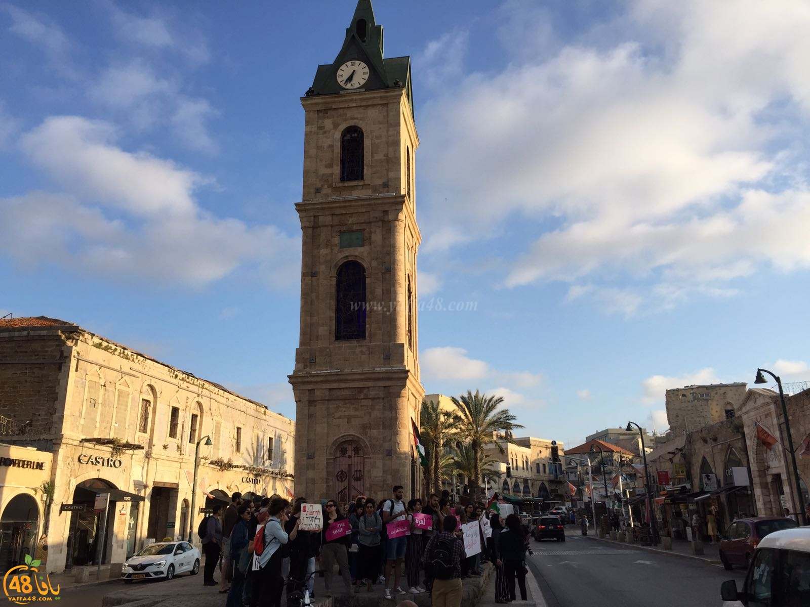 فيديو: لليوم الثاني على التوالي - تظاهرة في دوار الساعة بمدينة يافا تضامناً مع غزة