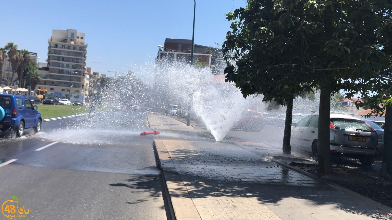 بالفيديو: انفجار أنبوب مياه رئيسي في مدينة يافا