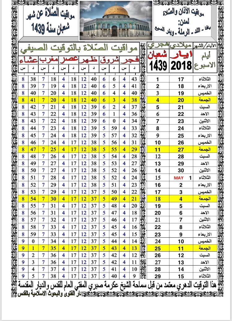 أوقات الصلاة حسب التوقيت الدهري لشهر شعبان 1439 هـ