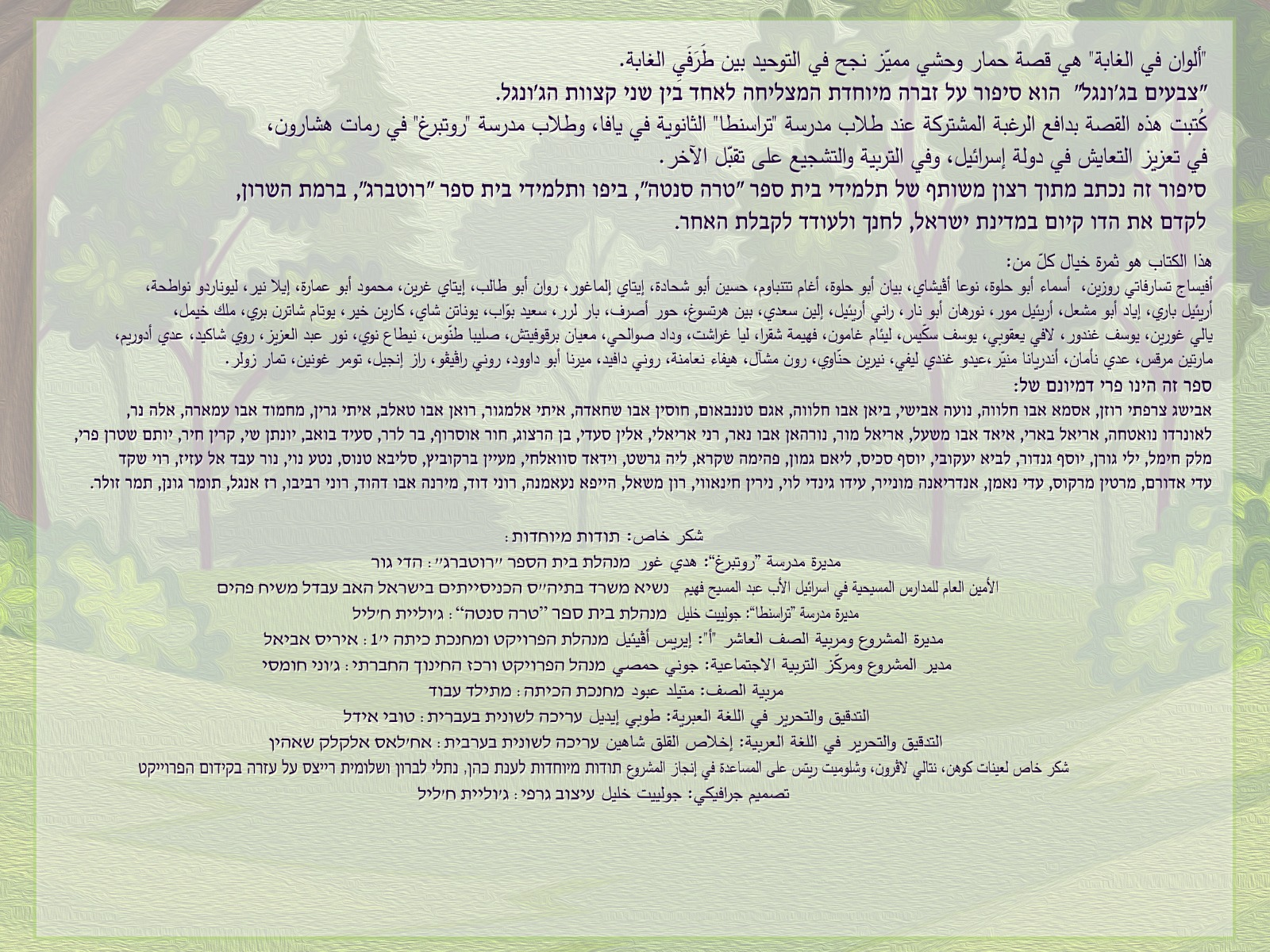 اصدار قصة للأطفال بعنوان ألوان في الغابة باللغتين العربية والعبرية