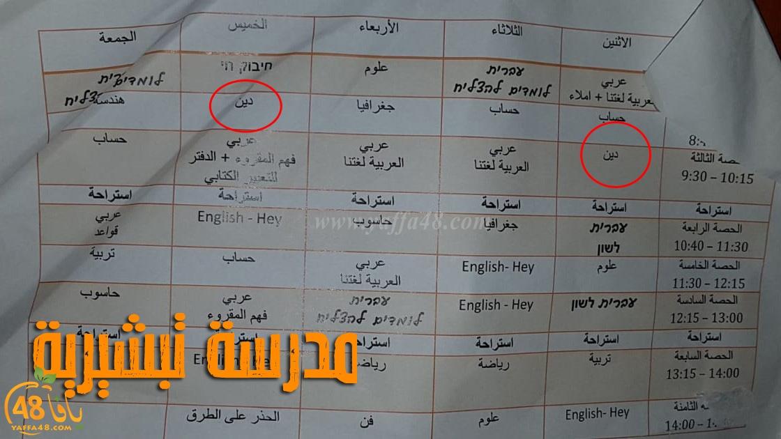 يافا: أولياء أمور جدول أولادنا الأسبوعي يخلو من مادة التربية الدينية في المدرسة!