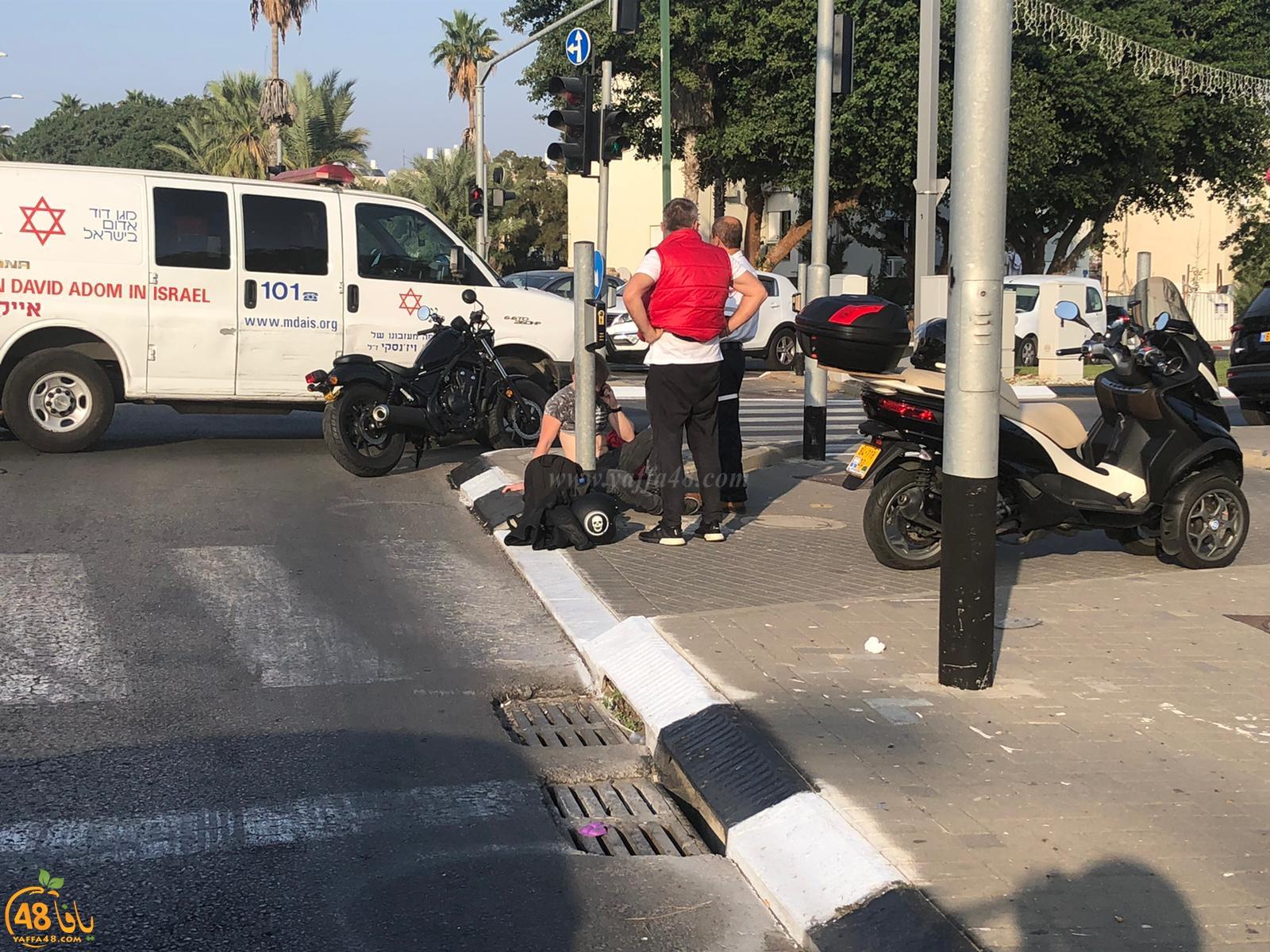اصابة طفيفة لراكب دراجة نارية بحادث طرق في يافا