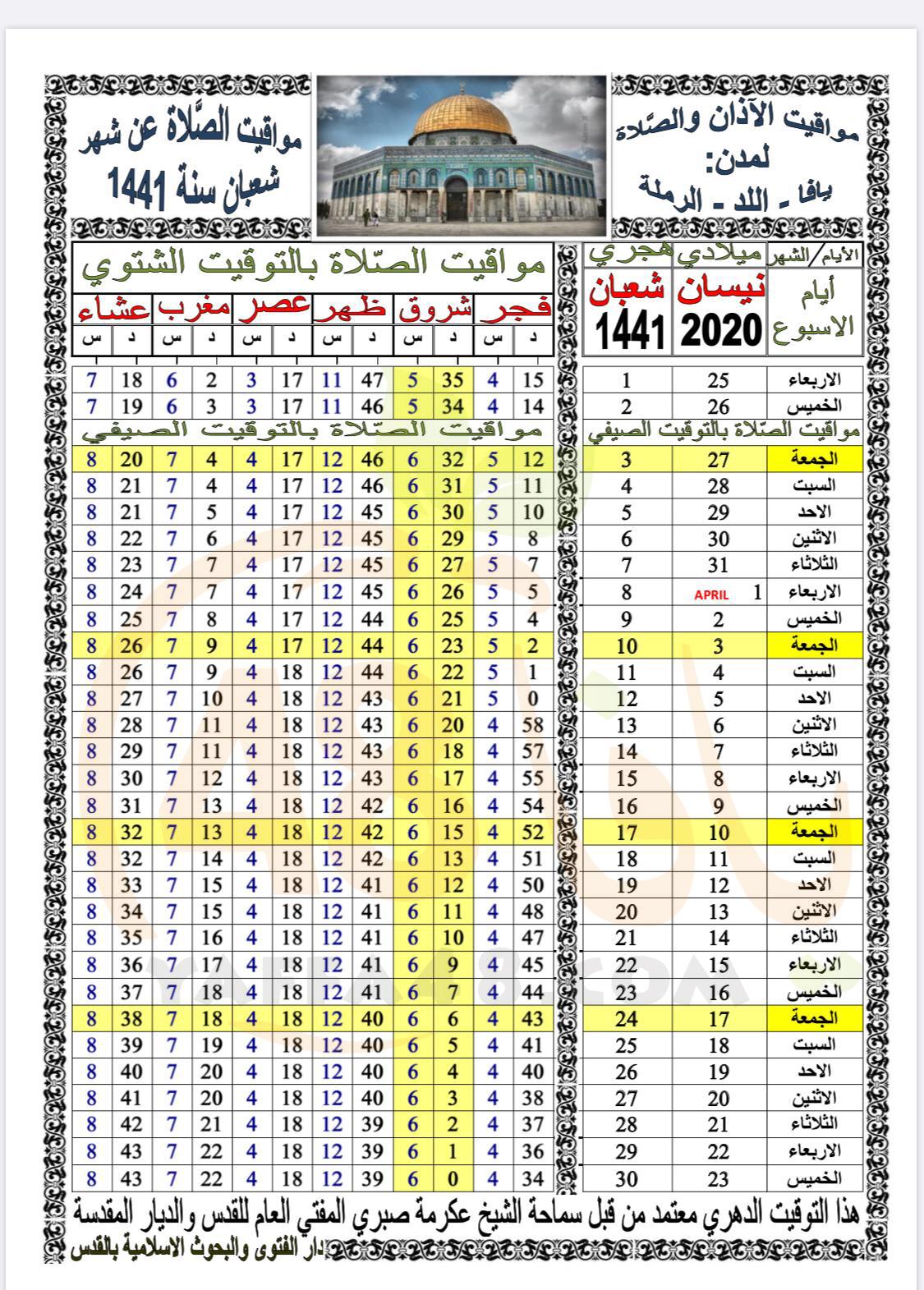 أوقات الصلاة حسب التوقيت الدهري لشهر شعبان 1441
