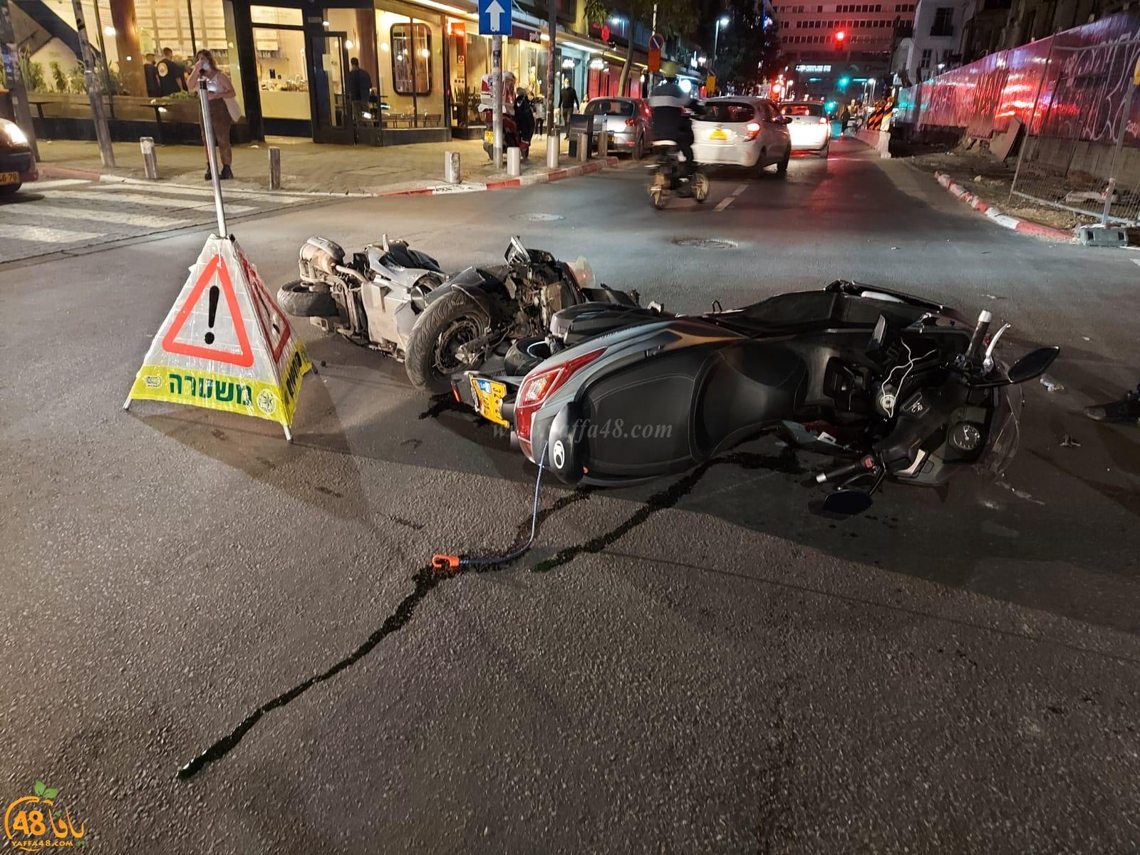 صور: إصابتان في حادث طرق بين درّاجتين ناريّتين ومركبة شرق يافا