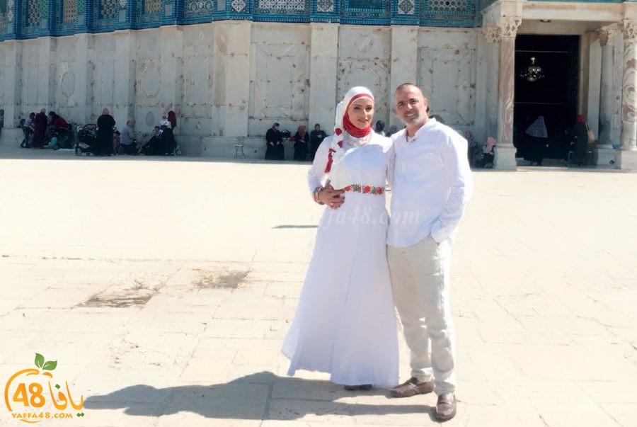 مبروك - عروسان من يافا يعقدان قرانهما في رحاب الأقصى المبارك