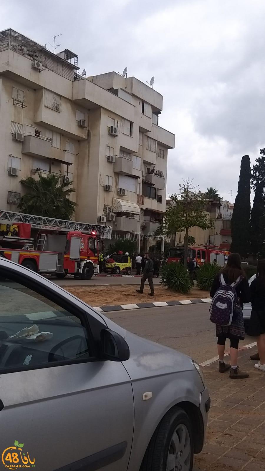 اللد: حريق داخل غرفة المصعد بعمارة سكنية دون اصابات