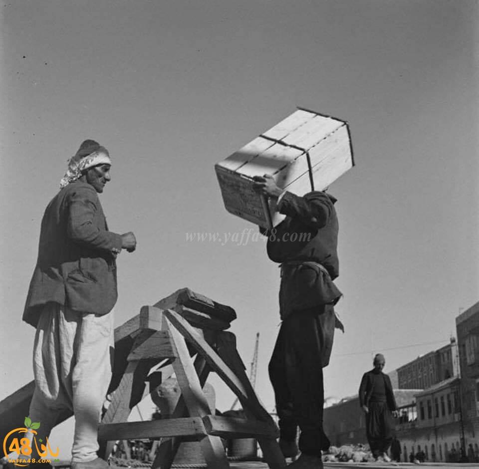 صور نادرة من ميناء يافا لنقل صناديق البرتقال بالقوارب عام 1945