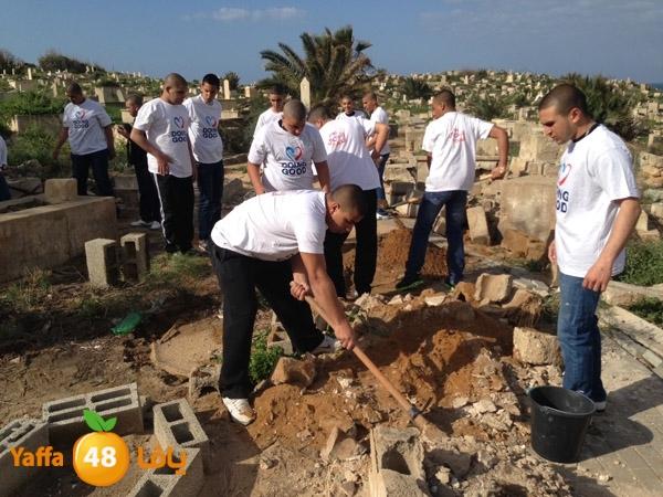 من أرشيف يافا 48 - مشاركة طلاب مدرسة أجيال الثانوية في ترميم مقبرة الكازاخانة عام 2013